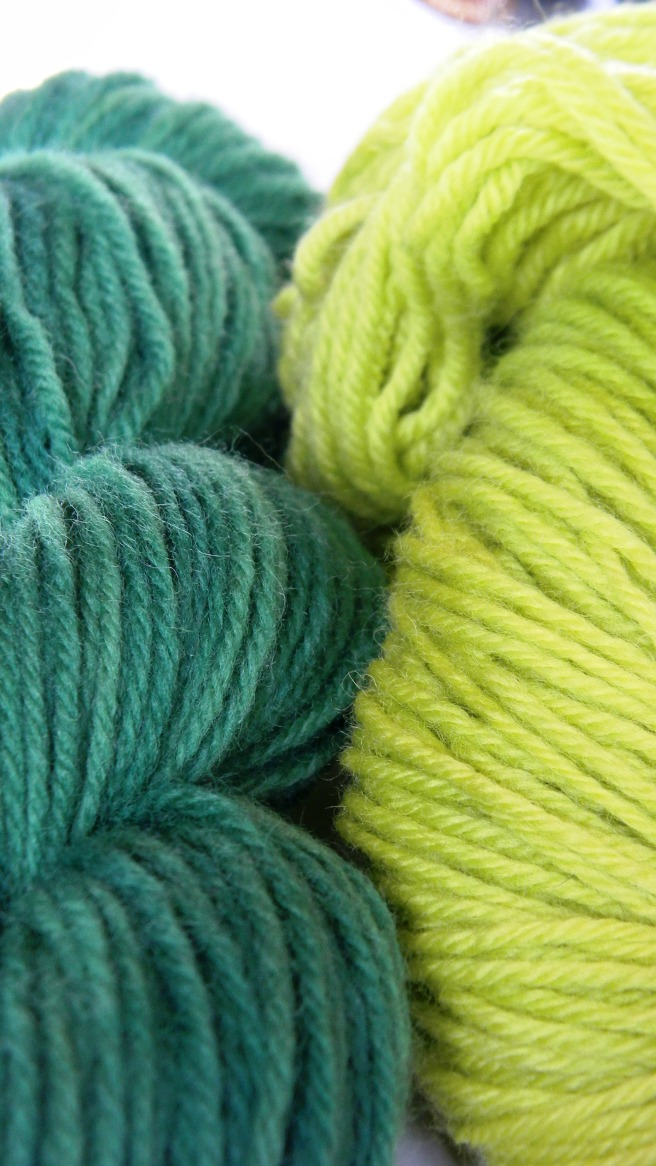 two green skeins