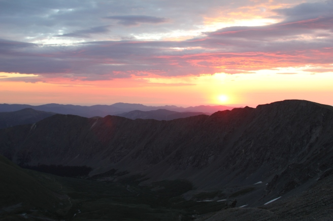 From the top of Gray's Peak at sunrise